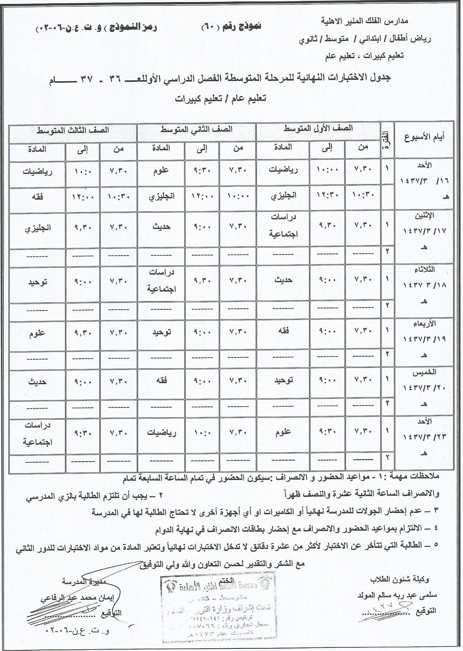 جدول الأختبارات النهائية لعــ1436-1437ــام للمراحل المتوسطة والثانوية
